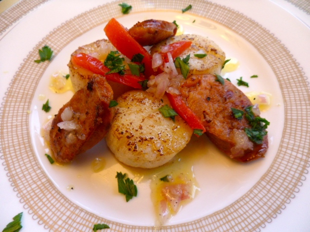 Pan Seared Scallops and Chorizo
