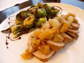 Roasted Pork and Brussels Sprouts with Maple-Balsamic Drizzle