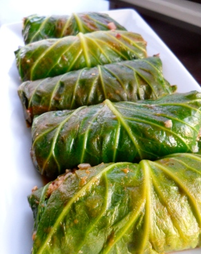 Soy and Rice Stuffed Cabbage