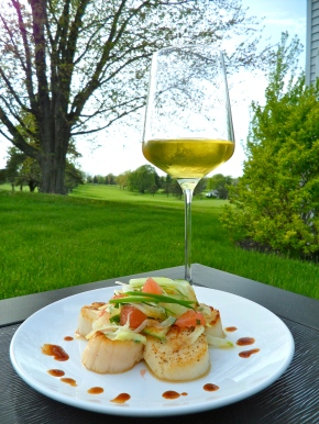 Scallops with Shaved Spring Salad