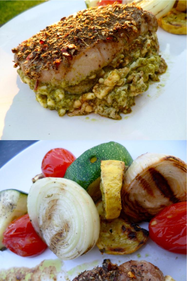 stuffed pork and veggies
