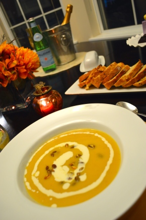 Apple Cider Soup with Rosemary Cream