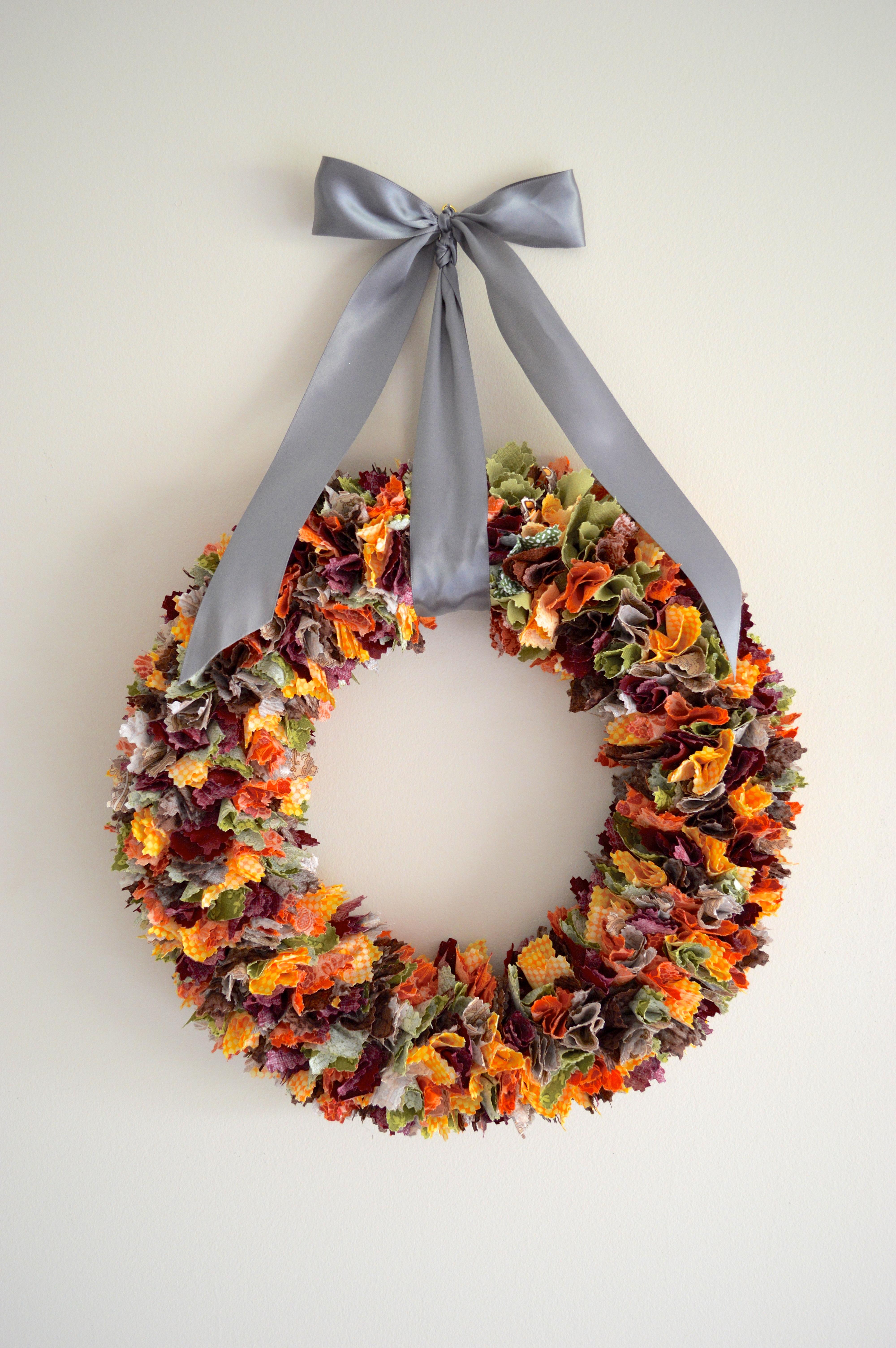 Fall fabric scrap wreath making it with danielle