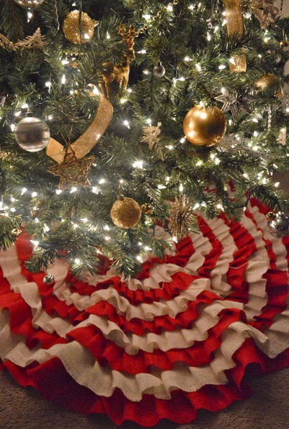 Burlap ruffle christmas tree skirt making it with danielle