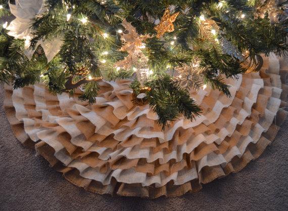 Burlap Ruffle Christmas Tree Skirt |
