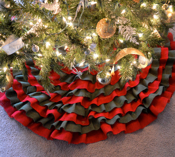 green and red tree skirt
