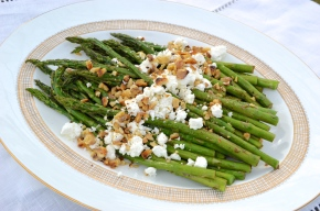 Balsamic Asparagus with Walnuts & Goat Cheese