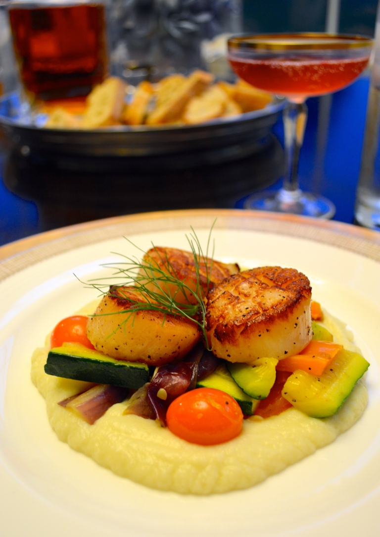 Seared Scallops with a Fennel Puree and Summer Vegetables