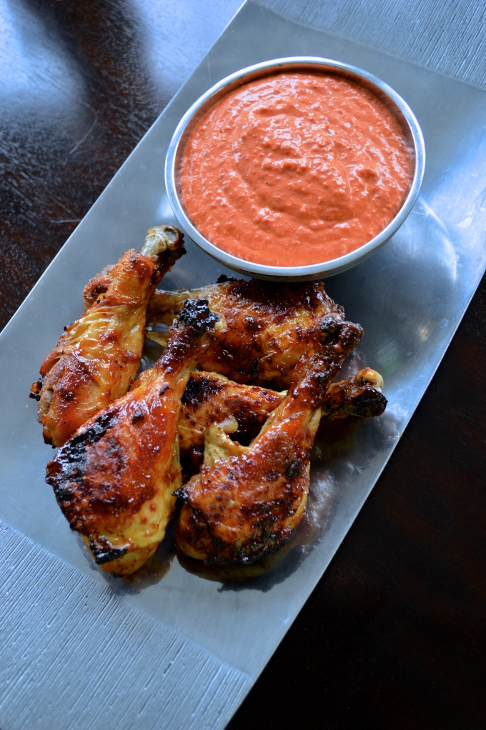 baked brown sugar drumsticks with roasted red pepper dipping sauce
