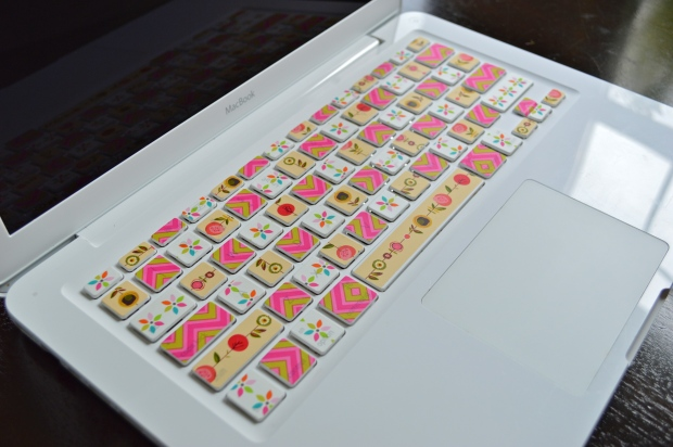 washi tape keyboard closeup