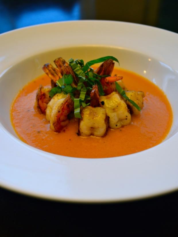 Shrimp in Heirloom Tomato Confit
