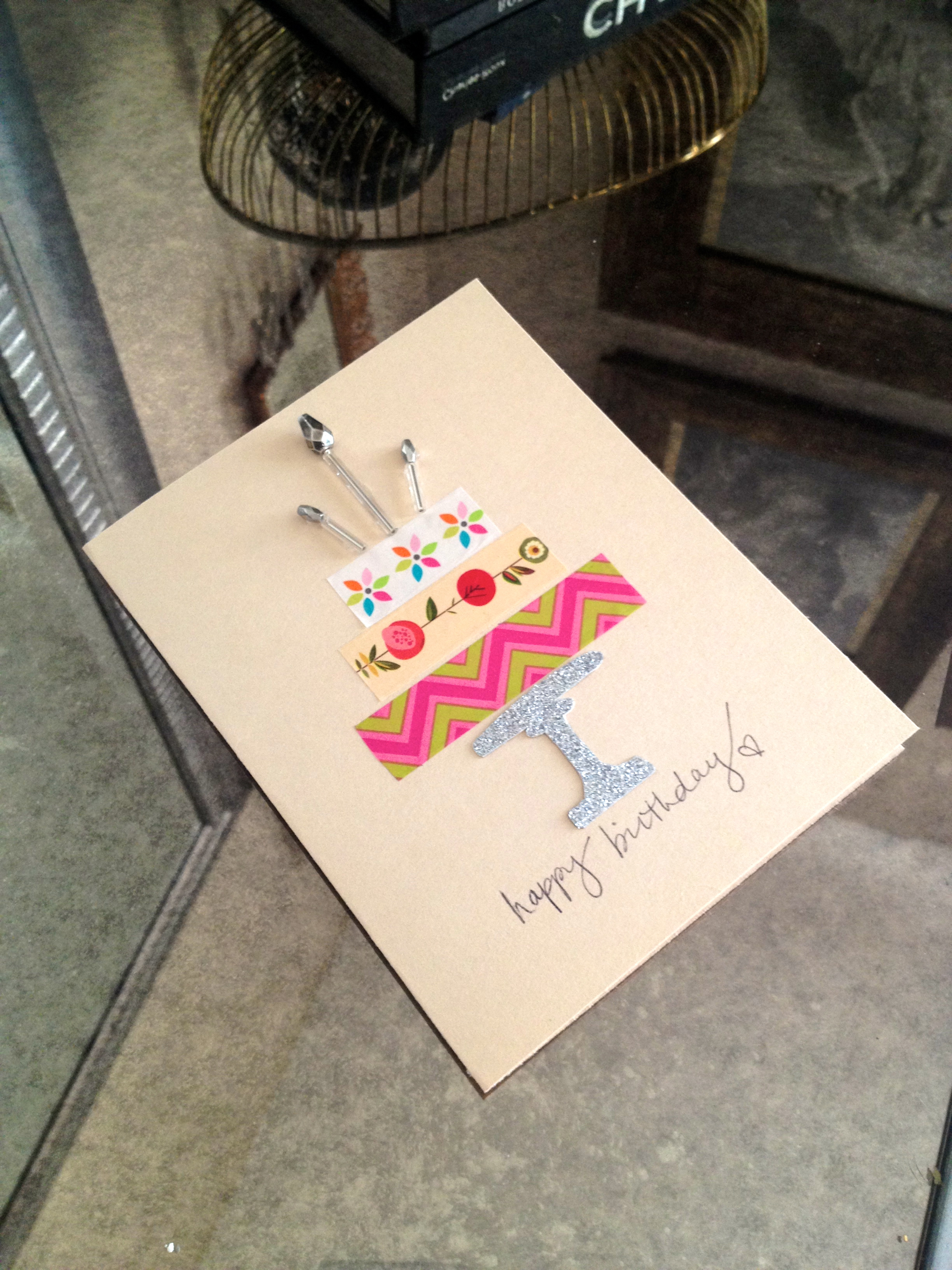Diy crafts for bathroom - Washi Tape Cake Birthday Card Making It With Danielle