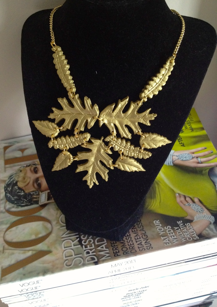 autumn leaves statement necklace