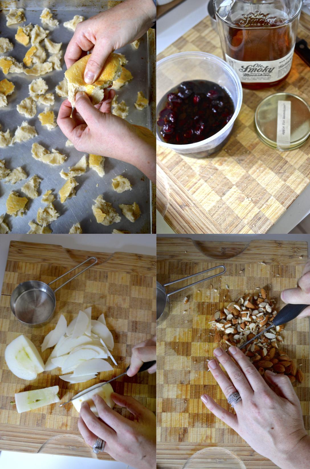 Apple, Cranberry + Currant Bread Pudding  