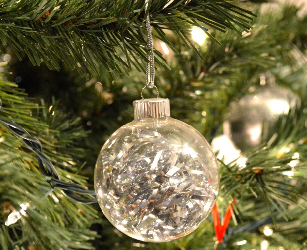 glass ornaments with shredding