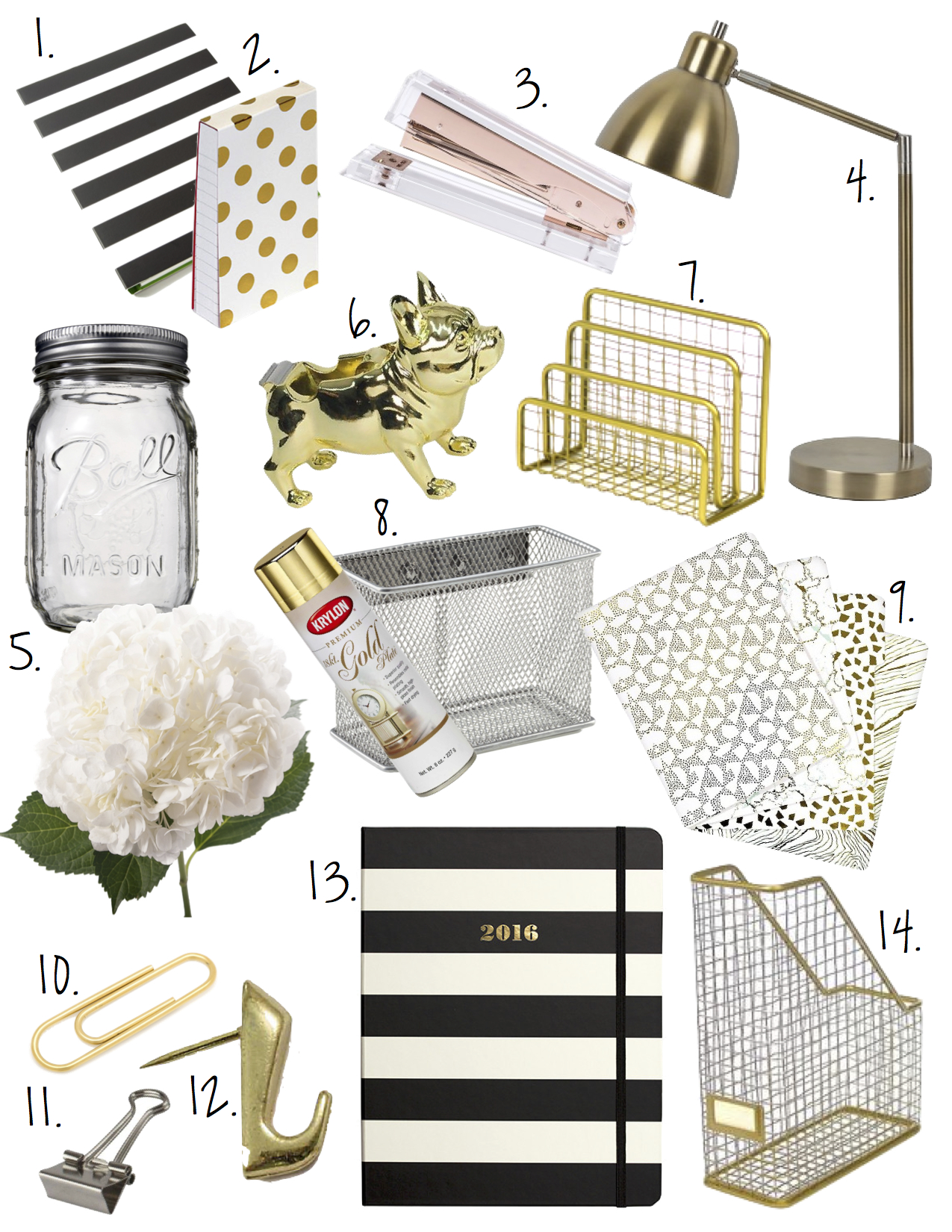 Black white gold office decor for Gold home decorations